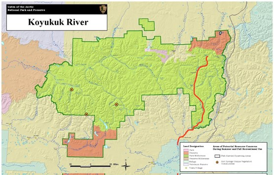 Location map of the North Fork of the Koyukuk River