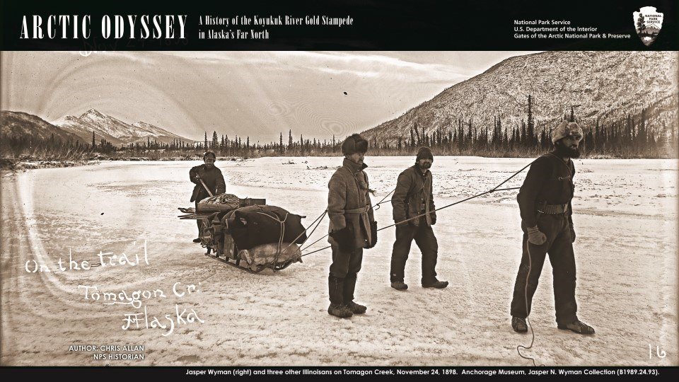 Men pulling a sled in winter, from Arctic Odyssey
