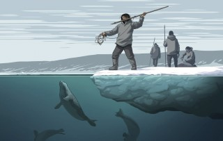 A drawing of a prehistoric hunter standing poised for a strike at the sea ice edge.