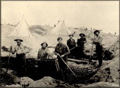 Miners working the beach at Nome.