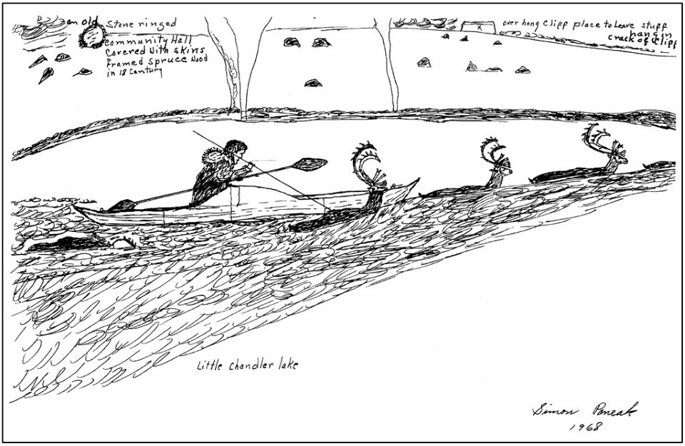 1967 Simon Paneak drawing of a hunter in a qayaq spearing caribou as they cross a river