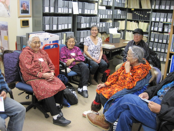 Elders from Shungnak listen to Inupiat language recordings at the Alaska Native Language Archive, November 16, 2011.