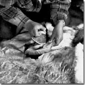 Nunamiut woman cutting caribou hide with ulu, a traditional women's knife (Anchorage Museum of History and Art, Ward W. Wells Collection, WWS-5122-9)