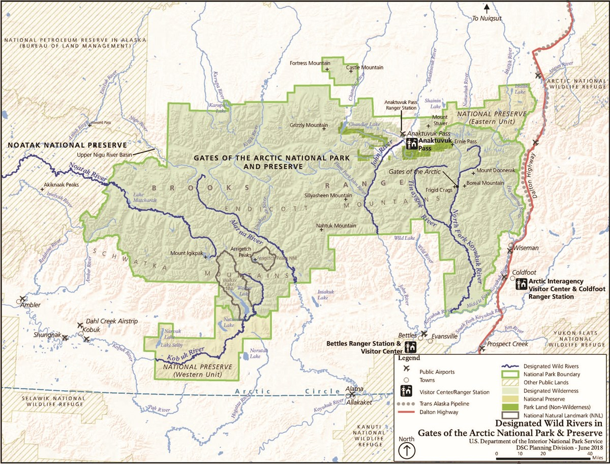 Park map of the Wild and Scenic Rivers in Gates of the Arctic
