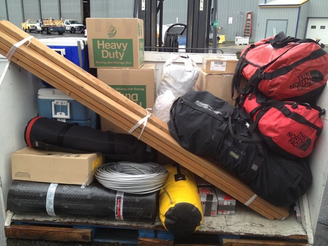 A pile of gear for field work