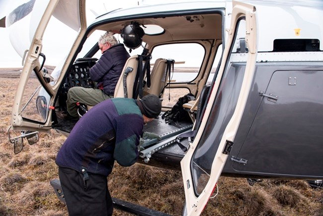 Loading a helicopter for a field work project
