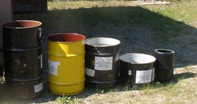 The different size and type bear resistant food containers we loan to the public for free.