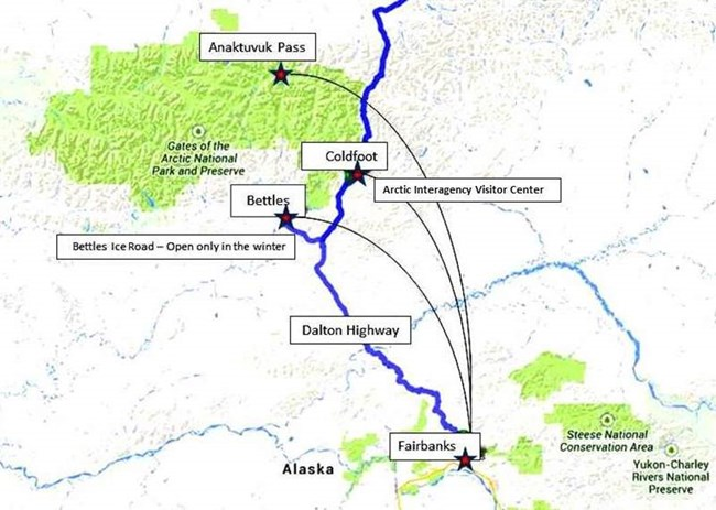 a map showing access routes to gates of the arctic national park preserve