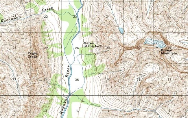 Topographic Map Of A Mountain.Maps Gates Of The Arctic National Park Preserve U S National