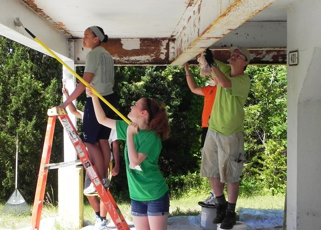 Youth from St. Charles Presbyterian Church in Missouri came to Sandy Hook in the summer of 2014 to help out. Here they paint a stand in the Nike Radar Site.