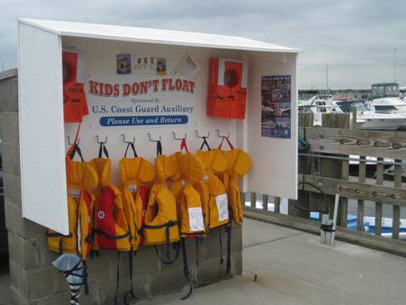 Anyone can borrow these lifejackets for children. Three sizes are available, including one for infants.