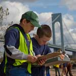 Students from St. Mary's School study the health of the Hudson River