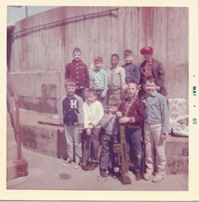 Col. Corley's son and friends at birthday party at Battery Gunnison, 1965.