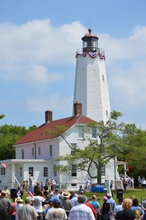 On June 14, 2014, visitors gathered to celebrate the 250th anniversary of the lighting of the Sandy Hook Lighthouse.