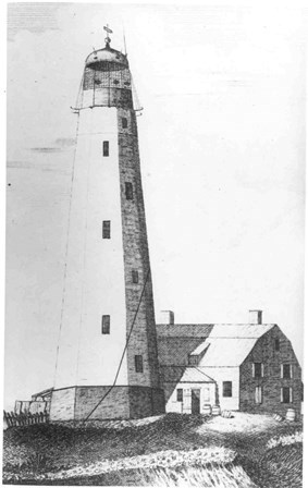 The first known engraving of the Sandy Hook Lighthouse, 1790.