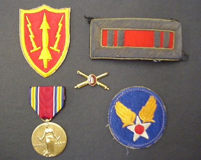 Selection of military insignia in the Gateway collection.