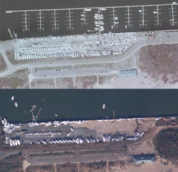 Google images of the marina at Great Kills Park before and after Hurricane Sandy.