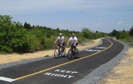 Sandy Hook has seven miles of a multi-use path. In the summer, visitors can bring their own bicycles or rent them from a concessioner.