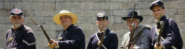 Historic reenactors at Fort Wadsworth.