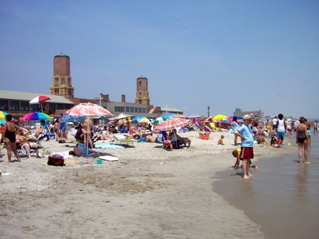 Beach at Jacob Riis Park, Queens. Parking fees at Riis and at Sandy Hook, New Jersey, will be waived Thursday, August 25.