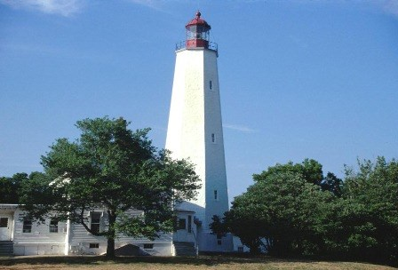The Sandy Hook lighthouse can be found in the Sandy Hook Unit of Gateway National Recreation Area.