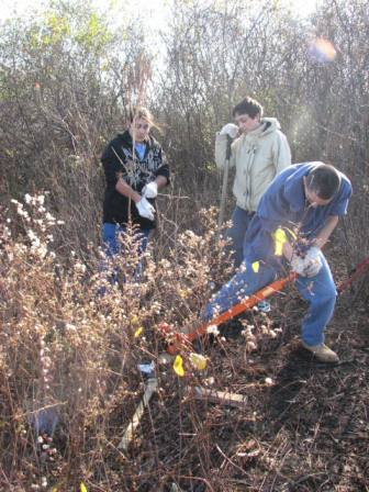 Taylor Ramos with other volunteers removing invasive species