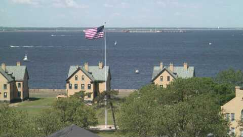 Officer's Row in Fort Hancock as seen from Sandy Cam.