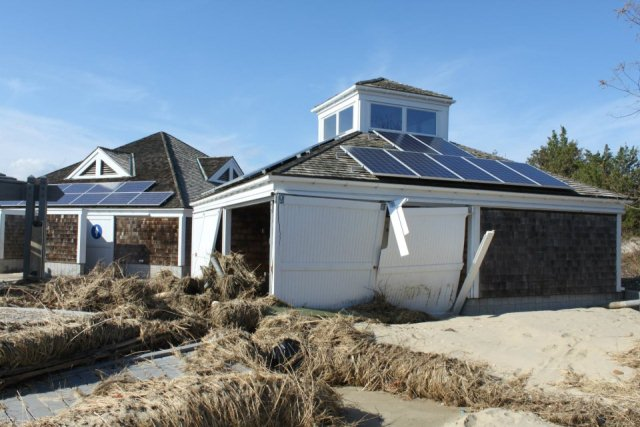 Beach centers at Sandy Hook received major damage from a record-high storm surge.