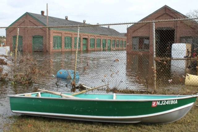 In the days after the storm, Sandy Hook's maintenance buildings were only accessible by boat.