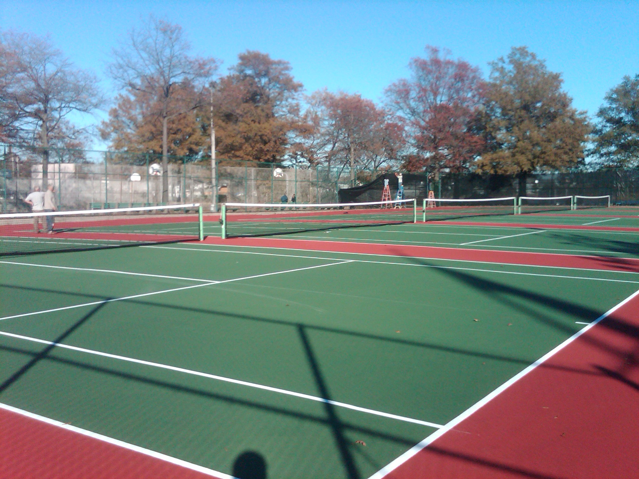 Newly-restored tennis courts at Frank Charles Park.