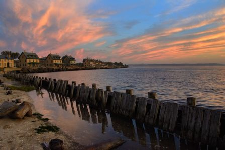 Sunset on Officers Row at Sandy Hook's Fort Hancock. Photo by Volunteer-in-Parks Stan Kosinski.