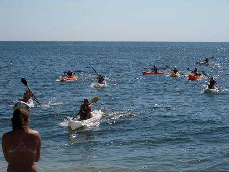 The ocean kayak race was one of ten contests in this year's All-Women Lifeguard Tournament.