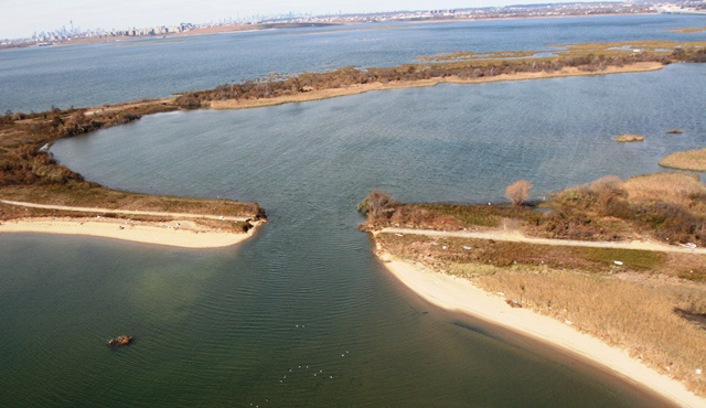 The West Pond at Jamaica Bay Wildlife Refuge, a manmade freshwater pond popular for its circular trail, remains breached after the storm.