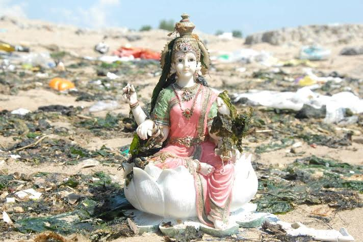 Lakshmi, Hindu goddess of wealth, fortune and prosperity, found at Jamaica Bay