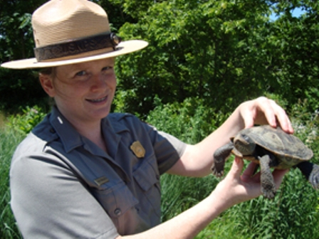 Teacher-Ranger Renay Moran-Kurken meets one of the many 'wild' characters at Jamaica Bay Wildlife Refuge.