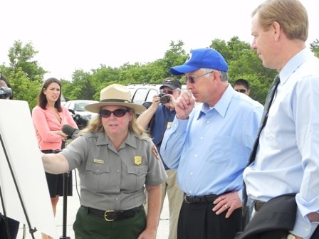 Interior Secretary Ken Salazar visited Floyd Bennett Field campgrounds in June 2011.