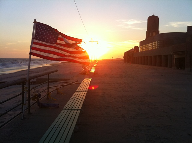 Sunset at Jacob Riis Park on Veterans Day 2012. NPS Photo by John Noble.