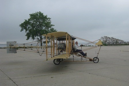 The replica of the 1911 aircraft arrived during a brief window of opportunity as the weather broke.