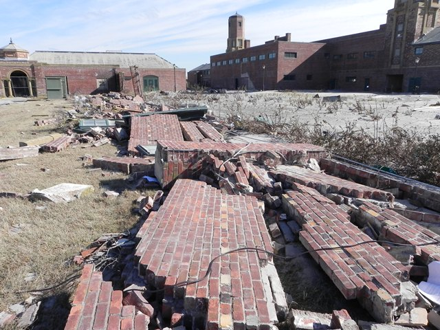 The storm forced open the doors and windows of the Jacob Riis Bathhouse with such power that the surge knocked down a six-foot tall brick wall behind the bathhouse.