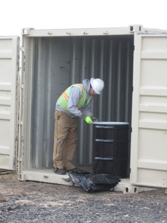 Work continues at Great Kills Park to find and remove radiation contamination. This photo from 2011 shows radiological waste, found at the park, being contained.