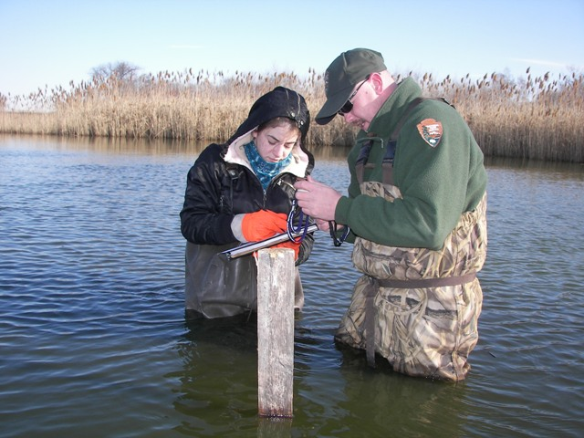 Sampling water quality in Jamaica Bay.