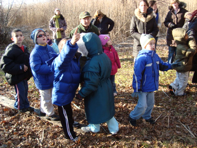 Children take a nature walk at Jamaica Bay Wildlife Refuge.