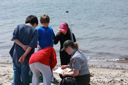 Teacher-Ranger-Teacher Renay Moran-Kurklen helps her students test water samples at Floyd Bennett Field's Dead Horse Bay.