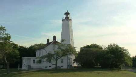 An image of the Sandy Hook Lighthouse, courtesy of Sandy Cam.