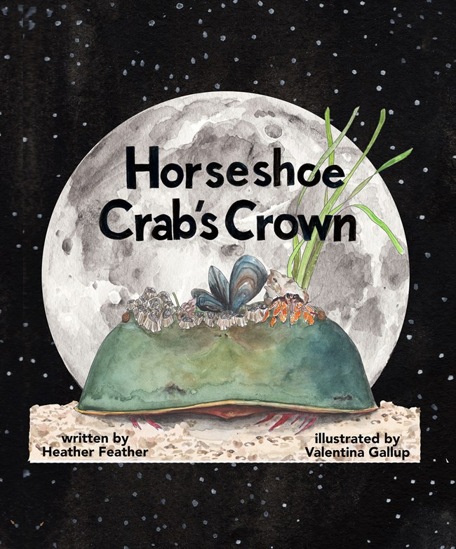cover of Horseshoe Crab's Crown book showing an illustration of a horseshoe crab with mussels on its head in front of a full moon.