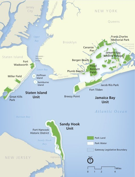 Gateway National Recreation Area includes the Sandy Hook Unit, located in Highlands, New Jersey, and two units in New York City, the Jamaica Bay and Staten Island Units.