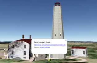 Sandy Hook Lighthouse in Google Earth