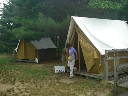 Camping is an educational experience for schools and youth groups at Floyd Bennett Field's Ecology Village.