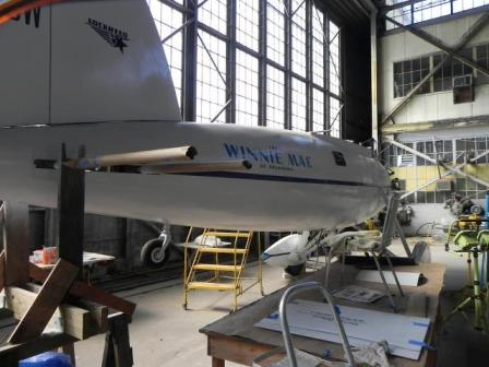 A full-scale replica of the Winnie Mae, built from scratch by volunteers at Floyd Bennett Field's Hangar B.