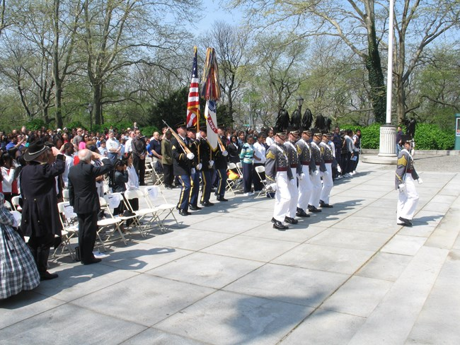 West Point Color Guard approaches podium for General Grant's annual birthday observance.